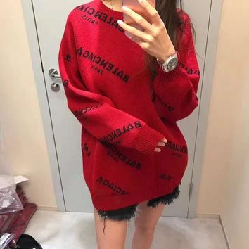 balenciaga fashion women long sleeve knitwear medium long section knit top sweater pul