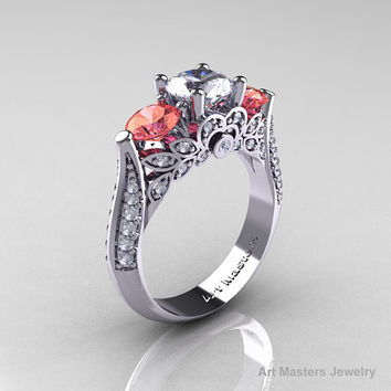 Classic 14K White Gold Three Stone White and Peach Imperial Topaz Diamond Solitaire Ring R200-14KWGDPIWT