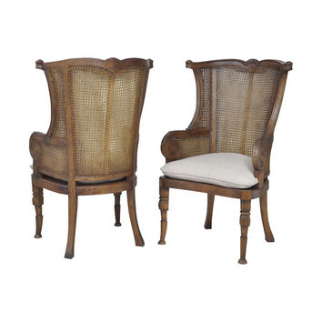 Guild Master Set of 2 Caned Wing Back Chair in New Signature Stain 6915513P