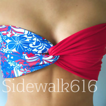 Red White Blue Floral Bandeau Top Spandex Bandeau
