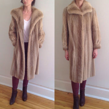 Vintage 70s Boho Hippie Genuine Mink Fur  Long Princess Coat Blonde Beige Fur Striping Lush Shiny Luxury Warm Winter Jacket