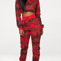 Shape Red Camo Side Stripe Joggers