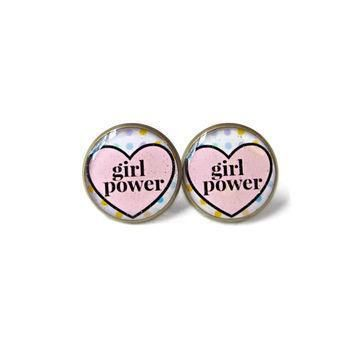 girl power conversation heart stud earrings funny anti valentine s day jewelry pas