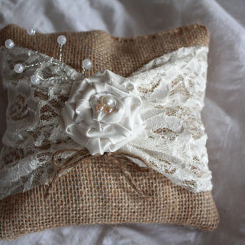 Rustic Burlap Ring Bearer Pillow with lace and an ivory flower