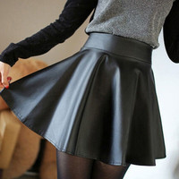 Women Vintage PU Leather Skirt  High Waist Pleated Short Skirts american tennis = 1945790212