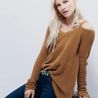 2016 new winter wind shoulder strap V-neck long-sleeved sweater flash