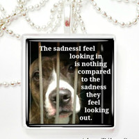 The sadness I feel looking in is nothing compared to the sadness they must feel Glass Pendant