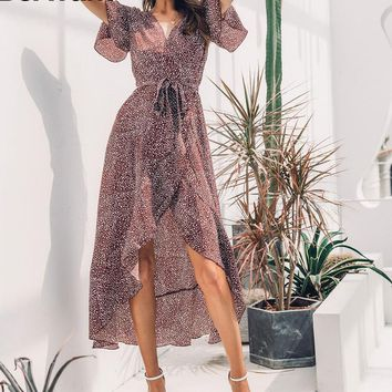 Sexy v-neck leopard printed long dress Elegant short ruffle sleeve maxi dress Split dot dress female vestido