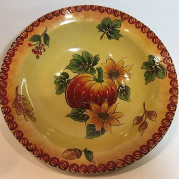 "Maxcera Fall Autumn Pumpkin Sunflower Serving Vegetable or Salad Bowl 13""D x 3""H"