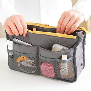 Practical Handbag Purse Nylon Dual Organizer Insert Cosmetic Storage Bag = 1646025668