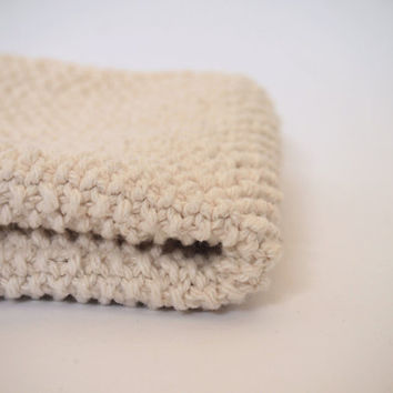 hand knit ecru white cotton washcloth
