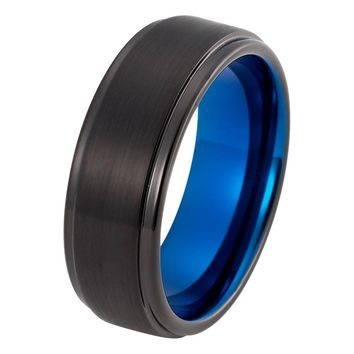 Black Blue Wedding Band Tungsten Carbide Mens Wedding Band Brushed 8mm Tungsten Ring Man Engagement Ring Anniversary Promise Black Wedding Ring Matching Set Blue Ring Scratch Proof