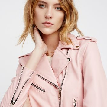 Free People Easy Rider Pink Leather Jacket