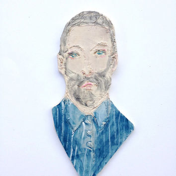 Painted Clay portrait - bearded man in pajama - your portrait - beautiful face - home décor
