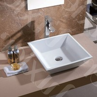 Contemporary White Ceramic Porcelain Vessel Bathroom Vanity Sink