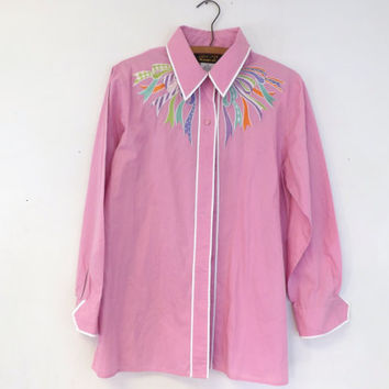 Vintage Bob Mackie Pink Ribbon Bow Western Wear Cowboy Square Dancing Shirt Long Sleeve Size Large Blouse Men's Women's Hipster Folk Tacky