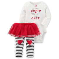 "carter's® 2-Piece ""Who Needs Cupid"" Bodysuit and Tutu Pant Set in Red"