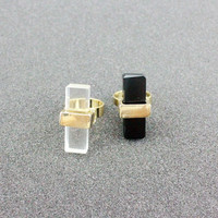 Gift New Arrival Shiny Stylish Jewelry Ladies Strong Character Fashion Transparent Glass Ring [4956890948]