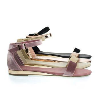 Interest21 Mauve By Bamboo, Flat Sandal w Slightly Elevated Mirror Metallic Wedge
