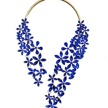 Gold and Blue Crystal Flower Wrap Around Choker
