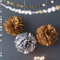 Golden Slivery 15cm=6 inch Tissue Paper Flowers pom poms balls lantern Party Decor Craft For Wedding Birthday Decoration Wh