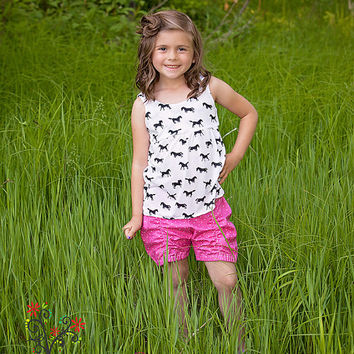 Girls Tank Top, Toddler Summer Shirt, Summer Outfit, Knit Top, Horse Shirt, Horse Top, Pony, Little Girls Shirts, Boutique Girls Clothes
