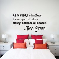 Wall Decals Quotes Vinyl Sticker Decal Quote John Green As he read, I fell in love Phrase Home Decor Bedroom Art Design Interior NS77