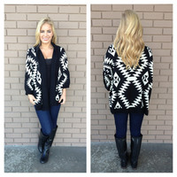 Black Chill Out Tribal Knit Cardigan