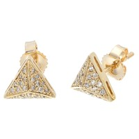 10K Yellow Gold Pyramid Stud Earrings with 0.18 Cttw Diamonds