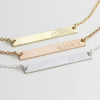 Personalized Bar Necklace, Bridesmaid Gift, Gift for her, Name Plate Necklace, handmade jewelry