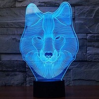 Wolf 3D Night Light Touch Control Desk Lamps, 7 Color Changing Table Lights