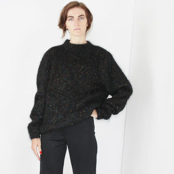 SPECKLED sweater black knit pullover minimalist jumper SMALL SM S fuzzy jumper medium large