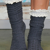 Cable Knit Boot Socks / Grey Lace