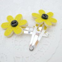 Vinyl Flower Barrettes, Tiny Hair Clips, sunny yellow matte vinyl with black buttons