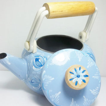 Blue Enamelware Tea Pot, Tea Kettle, Hand Painted. Scandinavian Design Rosemaled, Folk Art Style