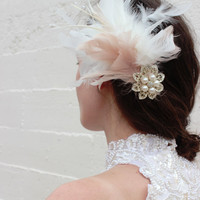 Pearl Ivory and Blush Wedding Feather Hairpiece - Downton Abby Wedding Hair Piece Wedding hair fascinator - Vintage 20's wedding headpiece