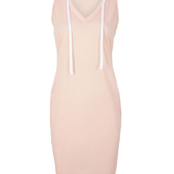 Pink Plunge Neck Hooded Bodycon Dress