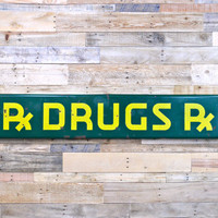 Vintage Porcelain Rx DRUGS Sign, Large Vintage Porcelain Sign, Green & Yellow