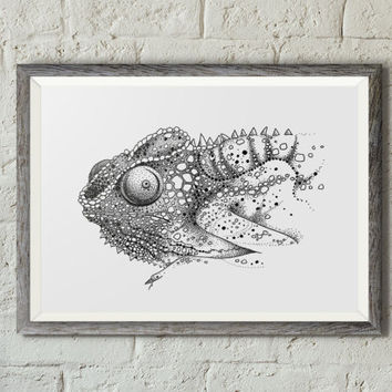 Chameleon fine art print, Chameleon illustration, Lizard illustration, Reptile, Nature animal, Dot work, Black ink, Trippy art