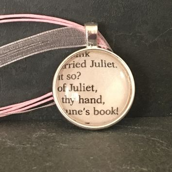 Romeo and Juliet Book Page Pendant Necklace