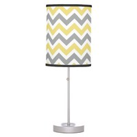 Yellow & Grey Chevron Lamp