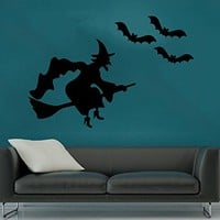 Wall Decal Happy Halloween Holiday Vinyl Sticker Witch On A Broomstick Bats Decals Home Decor Bedroom Art Design Interior NS897