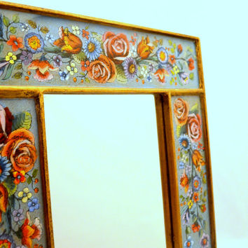 Vintage Reverse Painted Glass Mirror with Floral Design, Red and Blue Flowers, Boho or Cottage Chic, Hanging Mirror
