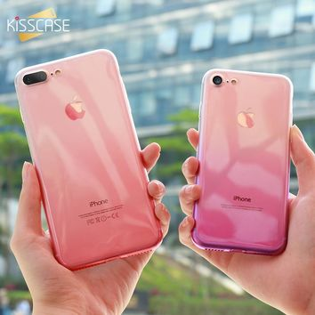 KISSCASE Soft Gradient Silicone Cases For iPhone 6 6s 5 5s se Case For iPhone 6 6s 7 8 Plus Ultra Slim Bumper Phone Back Cover