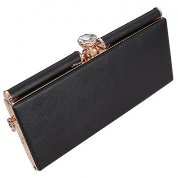 Fashion Solid Rhinestone Closure Clutch With Detachable Chain Strap