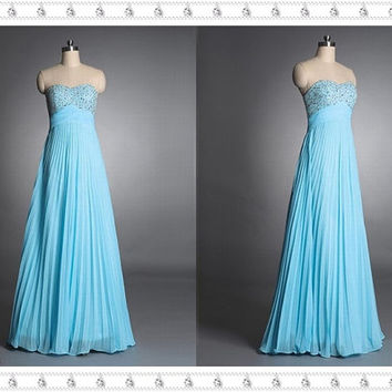 Prom/Evening Dress 2014, Beaded Prom Dress, Blue Prom Dress, Long Chiffon Prom/Evening Dress, Sexy Prom/Evening Dress, Juniors Prom Dress