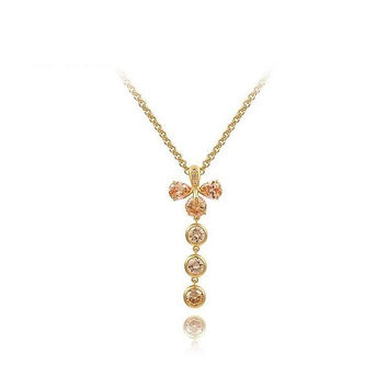 Shiny Gift Stylish New Arrival Crystal Jewelry Golden Leaf Necklace [9281917444]