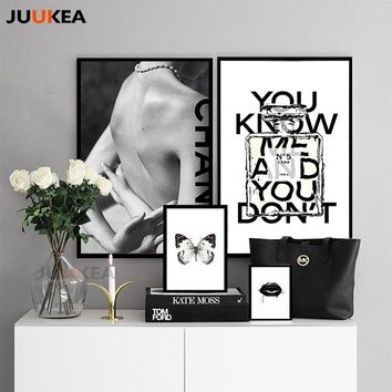 Modern Vogue COCO Black Lips Sexy Girl Perfume Canvas Painting Posters and Prints Wall Art Picture For Living Room Home Decor