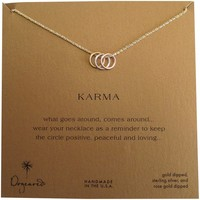 "Dogeared Gold Dipped Mixed Metal Triple Karma Ring Sparkle 18"" Box Necklace"