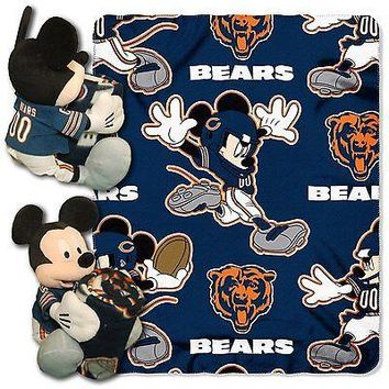 Chicago Bears NFL Mickey Mouse Throw and Hugger Pillow Set